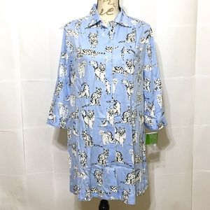 NWT KATE SPADE BLUE CAT PRINT SLEEPSHIRT PAJAMAS S